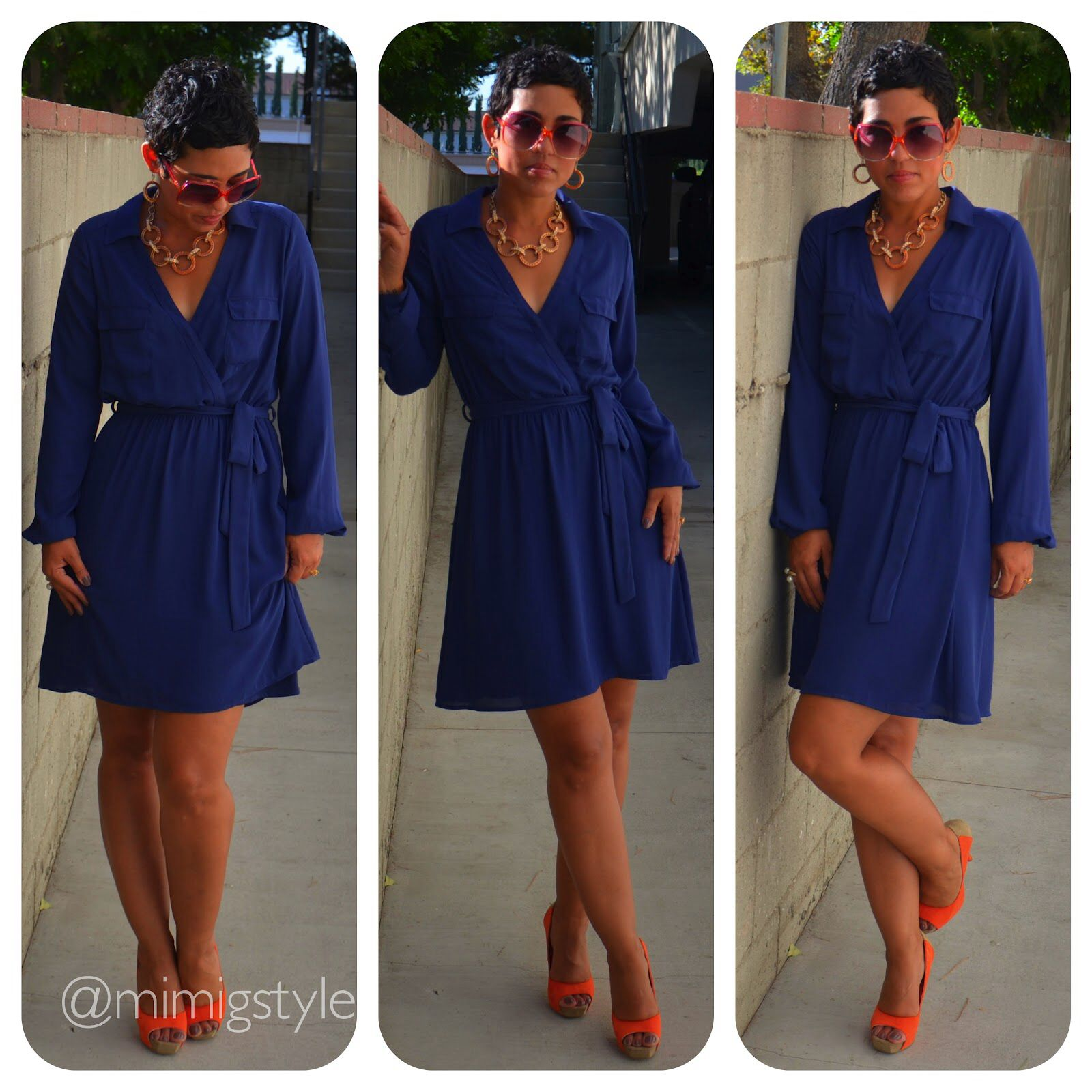 Love the pop of color with the shoes. Navy dress with orange
