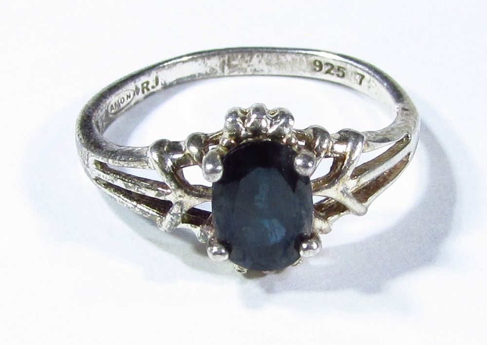 Avon Rj Signed Sterling Silver And Hematite Ring Size 6 5