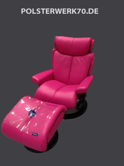 Fabulous Stressless Sessel neu bezogen in Pink echt Leder   Polsterei JE49