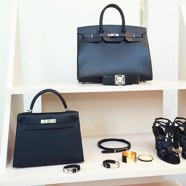 fe50cdcd89bb Hermes Matte Black Birkin and Kelly Bags with tonal stitching SS2015 ...