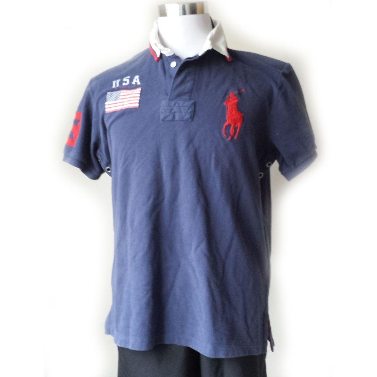 #men shirt POLO Ralph Lauren men POLO style shirt size L blue with USA flag