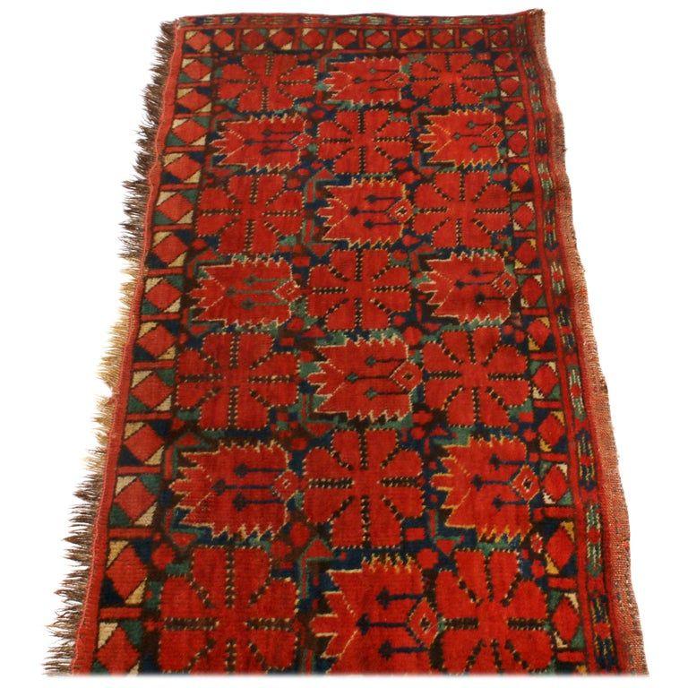 Antique Turkeman Geometric Red And Green Wool Rug Scandinavian Rug Rugs Wool Area Rugs