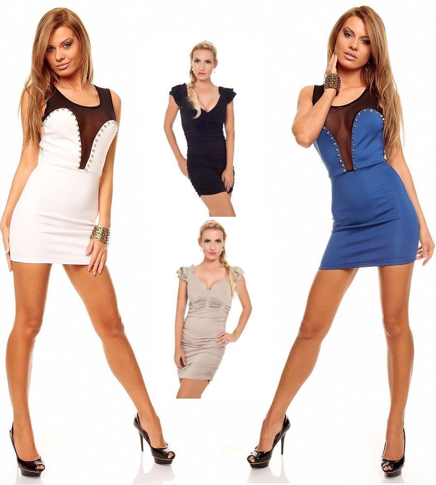 Details zu Minikleid Partykleid Kleid Chiffon Stretch Cocktailkleid ...