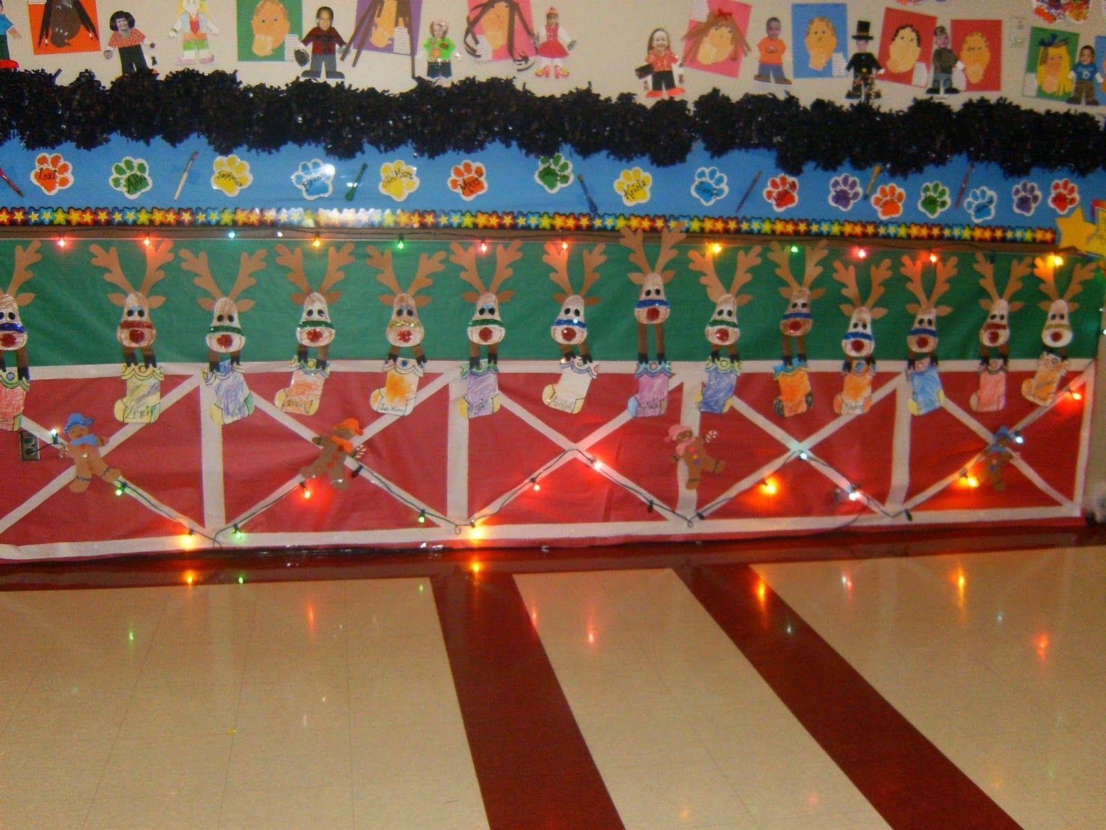 Reindeer Stable Christmas Classroom Hallway Display