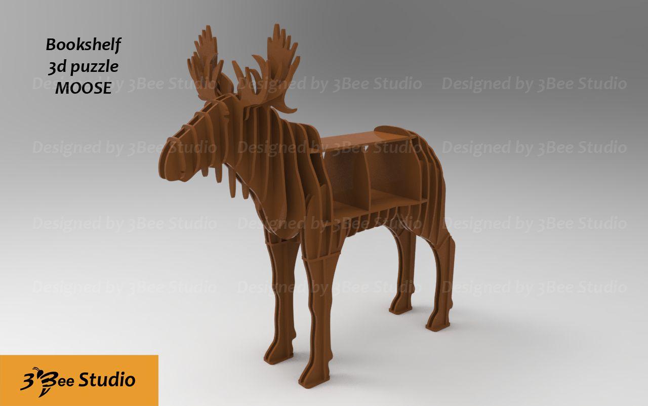 Moose Bookshelf 3d Puzzle Plan Vector File For Cnc 3bee Studio  # Beestudio Muebles