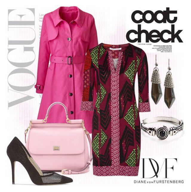 """""""Pink Trench"""" by hastypudding ❤ liked on Polyvore featuring moda, Diane Von Furstenberg, Dolce&Gabbana, Karen Millen y Kenneth Cole"""