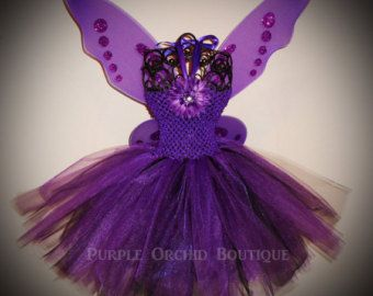 Purple Tutu Dress - Fairy Set - Includes Wings