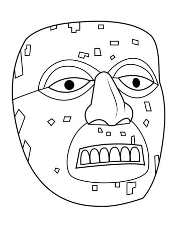 Mascara Azteca De Xiuhtecuhtli Dibujo Para Colorear Paginas Para