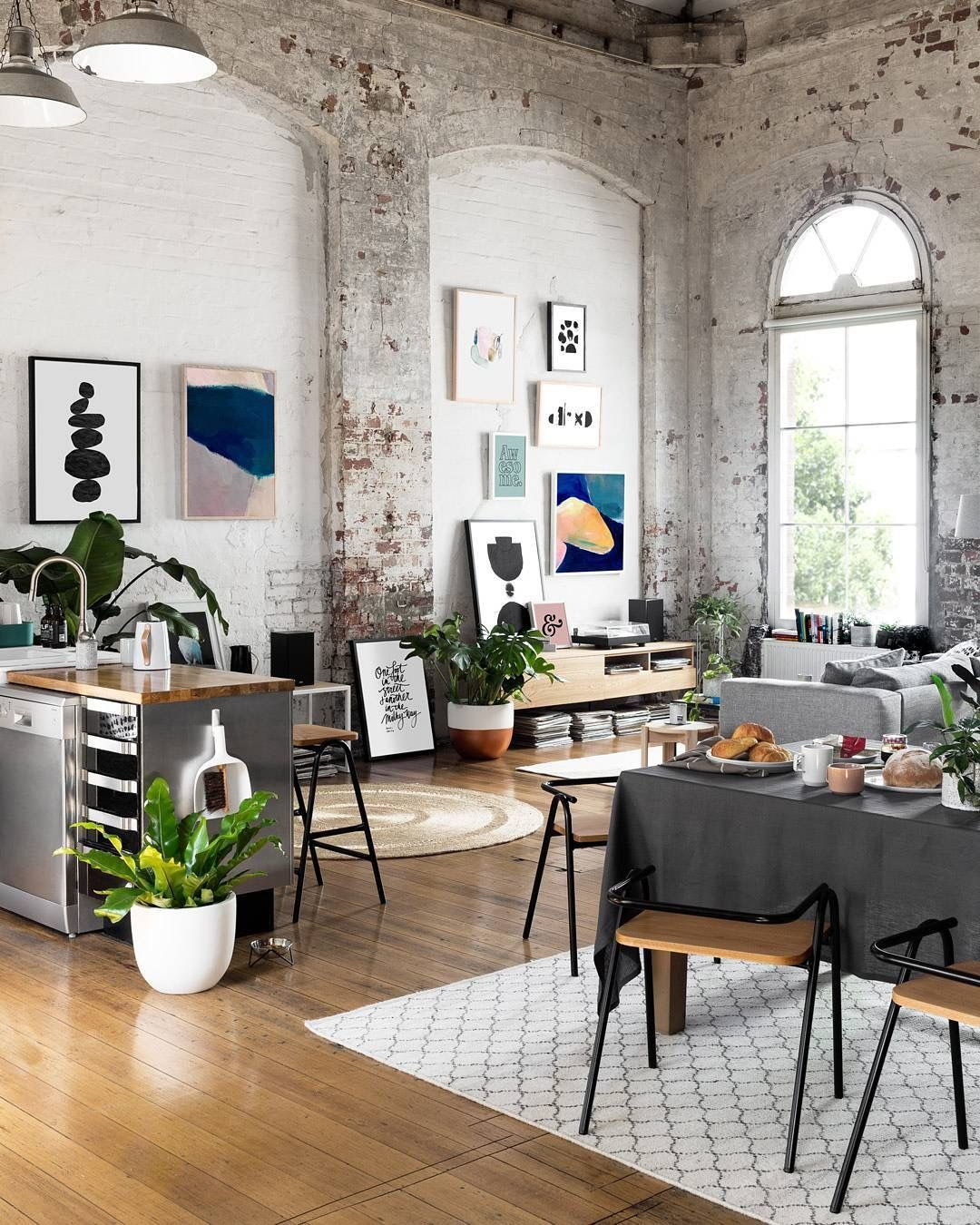 Modern Industrial Style Combines Aesthetics With: Exposed Brick Walls, Arches, Great Lighting, And Lots Of