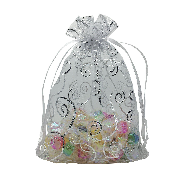 YIJUE 100pcs Drawstrings Organza Gift Candy Bags Wedding Favors Bags ...