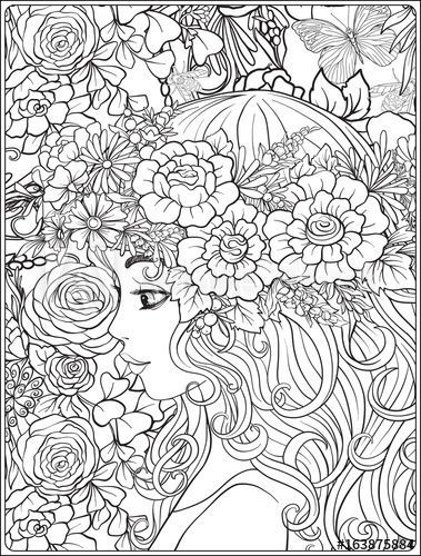A Young Beautiful Girl With A Wreath Of Flowers On Her Head Coloring Page Adobe Stock Cute Coloring Pages Coloring Pages Owl Coloring Pages