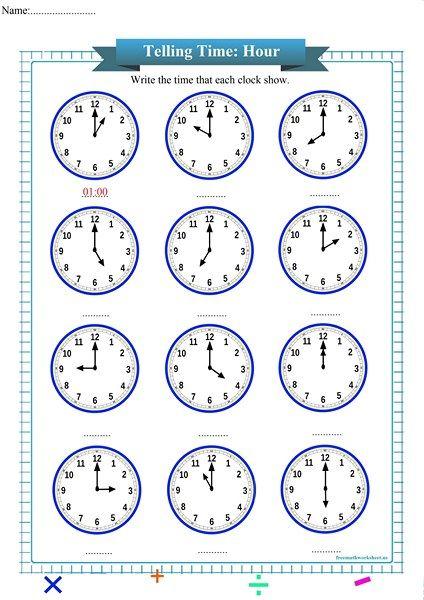 Free Telling Time Worksheets For Kindergarten