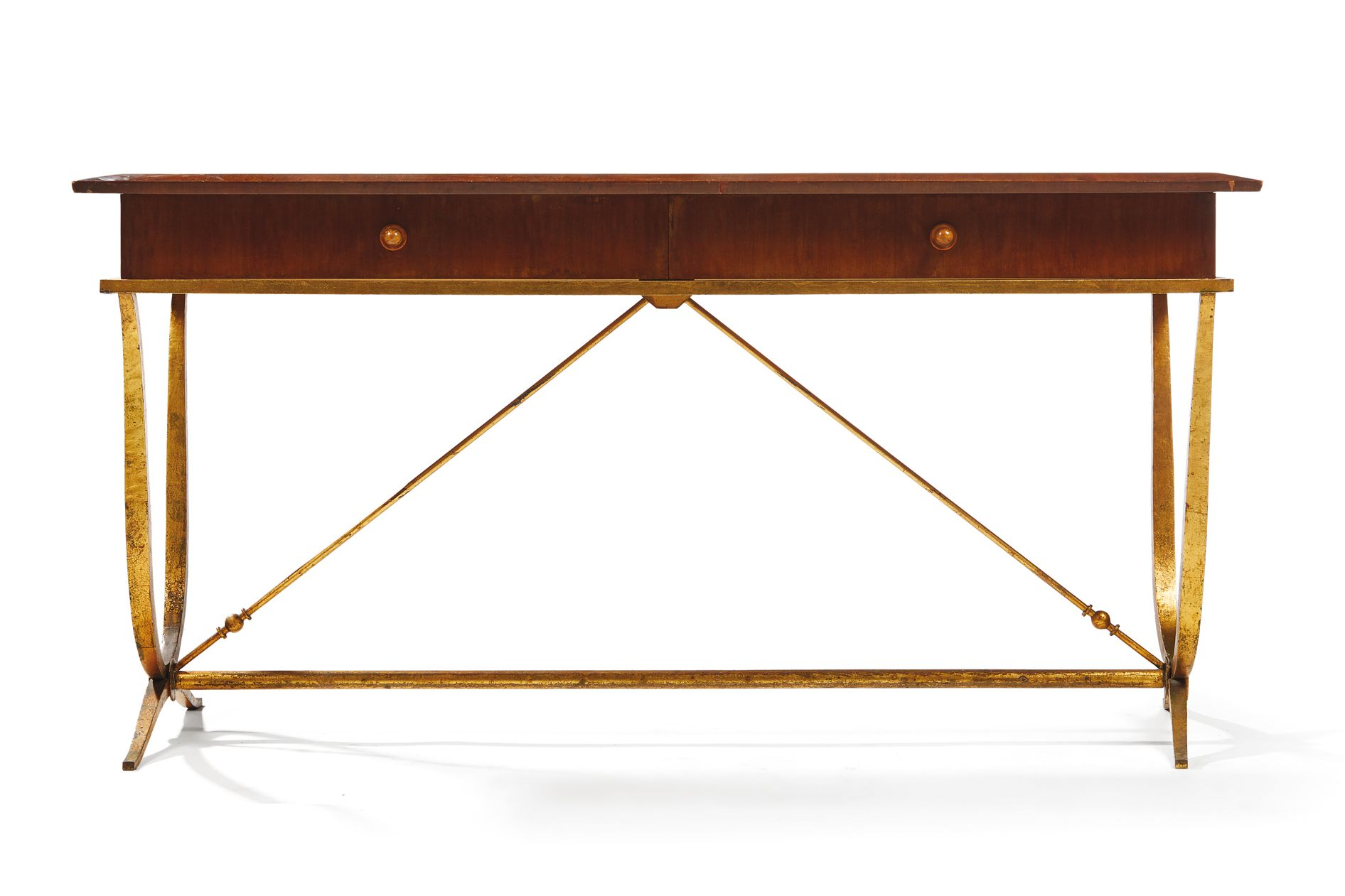 RENE PROU (1889-1947) Rectangular desk in mahogany veneer opening in belt by two drawers and resting on a base of beaten iron with bronze patina. Around 1940. H: 72 cm   W: 146 cm D: 60,5 cm