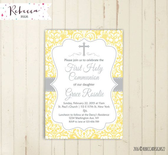 Yellow communion invitation girl first communion invitation boy