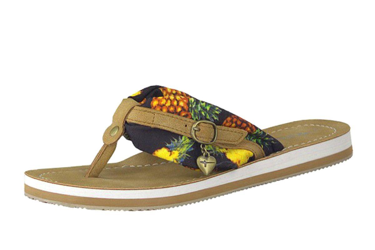 ee6ffd718a28bf Tamaris 27109 Black Pineapple Print Flat Toe Post Flip Flops Sandals ...