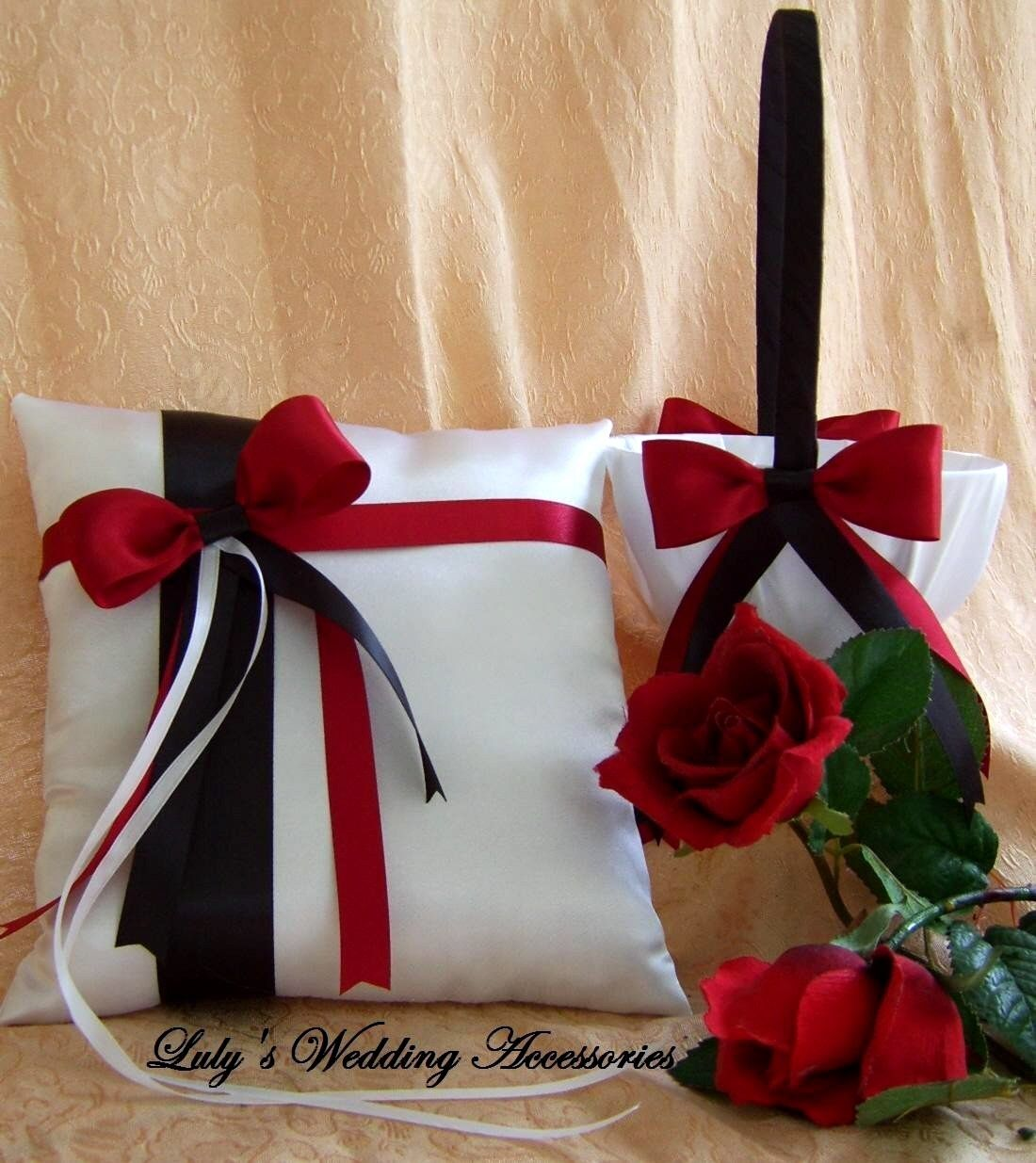Black And White W Red Ring Bearer Pillow And Flower Girl Basket