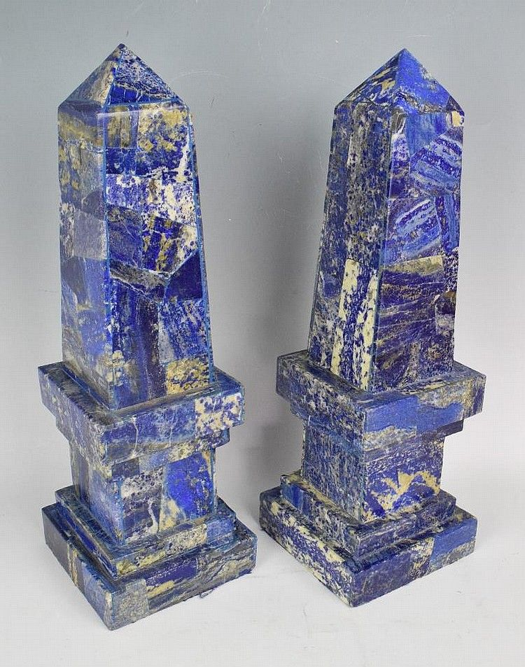 Pair Of Marble Obelisks Blue With Cream Marbling Obelisk Color Stories Antiques