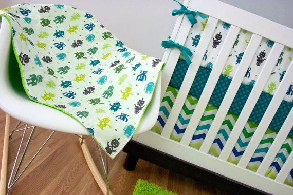 Robot Crib Bedding Cribset Custom Baby Robots Chevron Dots Teal Lime Citron Green Navy Blue Turquoise