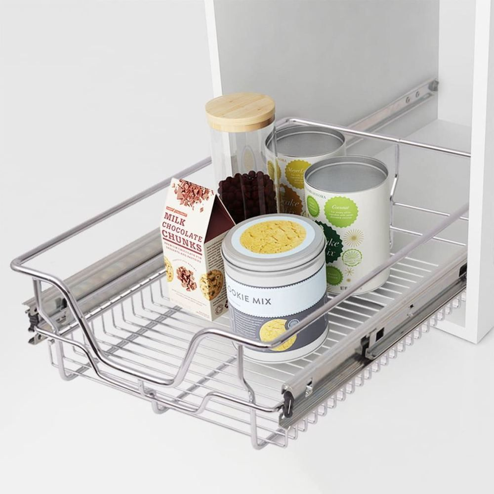Kitchen Pull Out Basket Home Wire Set 2 Pieces Cabinet Organiser Cupboard Drawer Home Furniture Diy Cookware Din Wire Baskets Larder Unit Basket Drawers