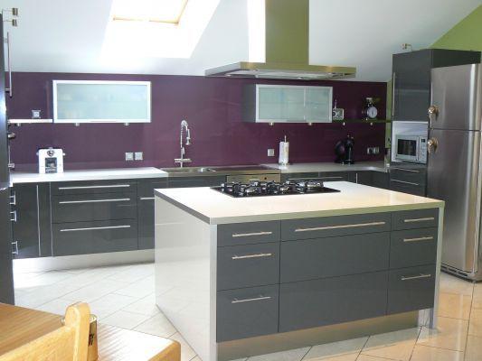 Cuisine gris et violet meubles peints kitchen cabinets bathroom et kitchen - Deco cuisine violet ...
