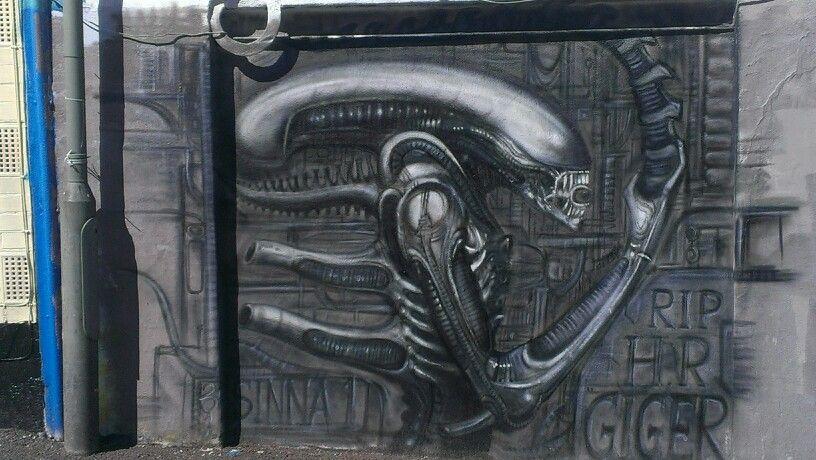 RIP Giger #Brighton #streetart #Brightongraffiti #paintedcity #Giger #Alien #brightonstreetart #brightongraffiti