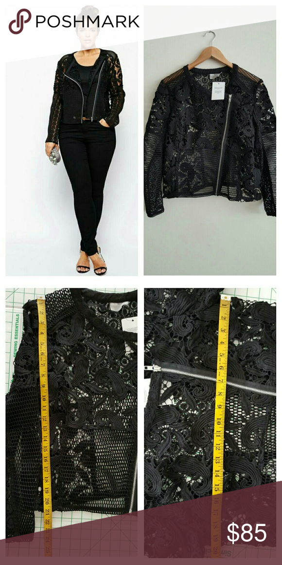ASOS Curve Exclusive Premium Lace Jacket ASOS Curve Exclusive Premium Lace Jacket  Color Black  Size 14 US  New with tag  Plus size jacket by ASOS CURVE PRODUCT DETAILS   Unlined woven fabric Lace inserts with mesh panels Asymmetric zip front fastening Regular fit - true to size Hand wash  100% Polyester ASOS Curve Jackets & Coats