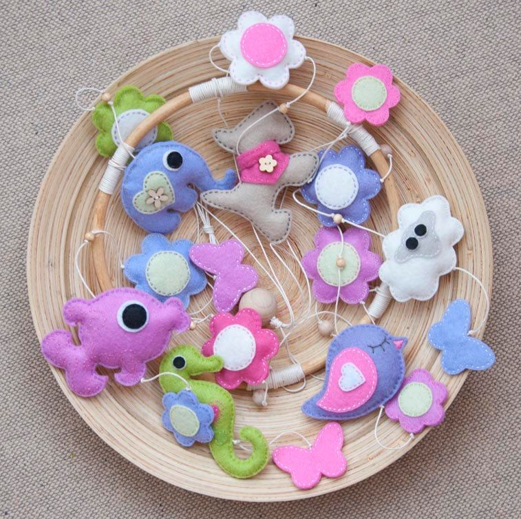 Felt animals baby mobile with flowers and butterflies for a girl -