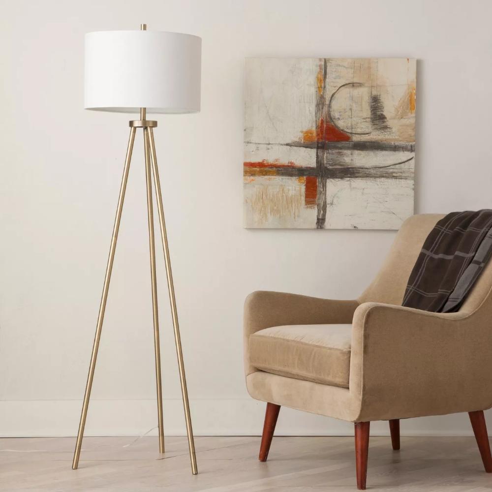 Ellis Tripod Floor Lamp Brass White Project 62 In 2020