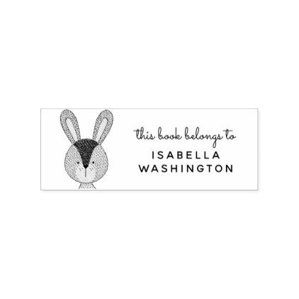 Hand-drawn Bunny This Book Belongs To Custom Name Rubber Stamp - stamp template
