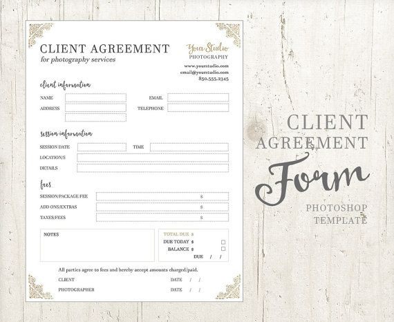 Client Agreement Form For Photographers  Photography Business