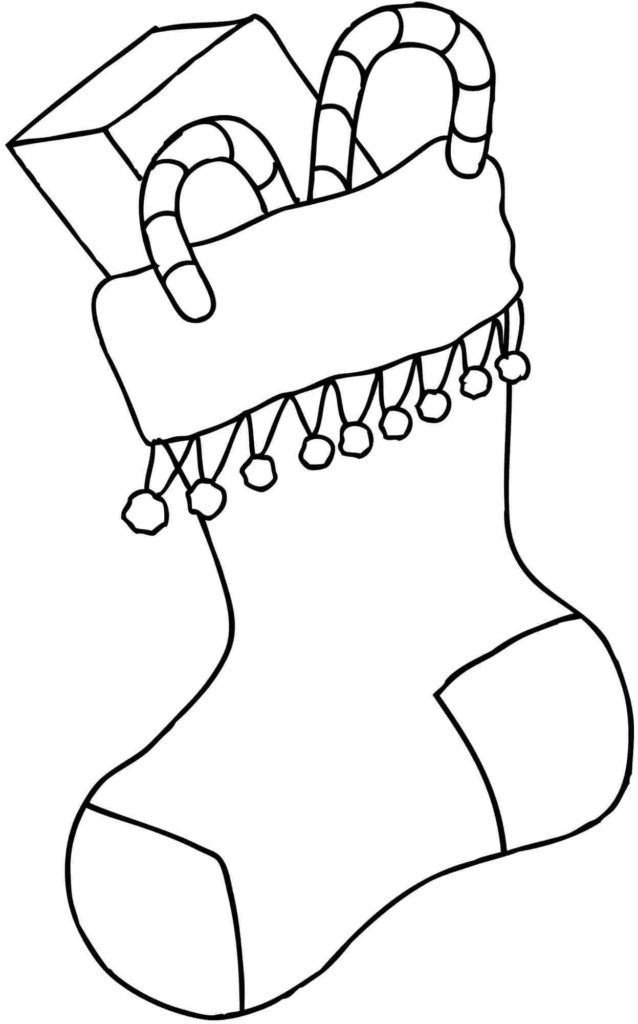 Christmas Stocking Coloring Pages   Christmas present ...