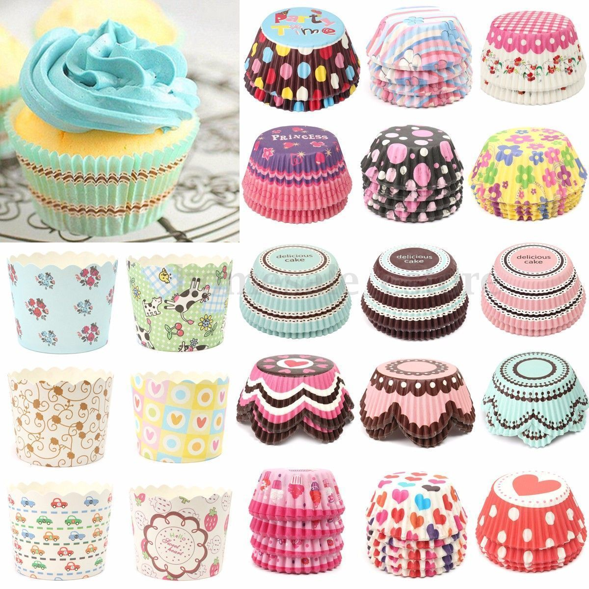 50 100x Xmas Paper Cake Cup Liner Cupcake Case Baking Muffin
