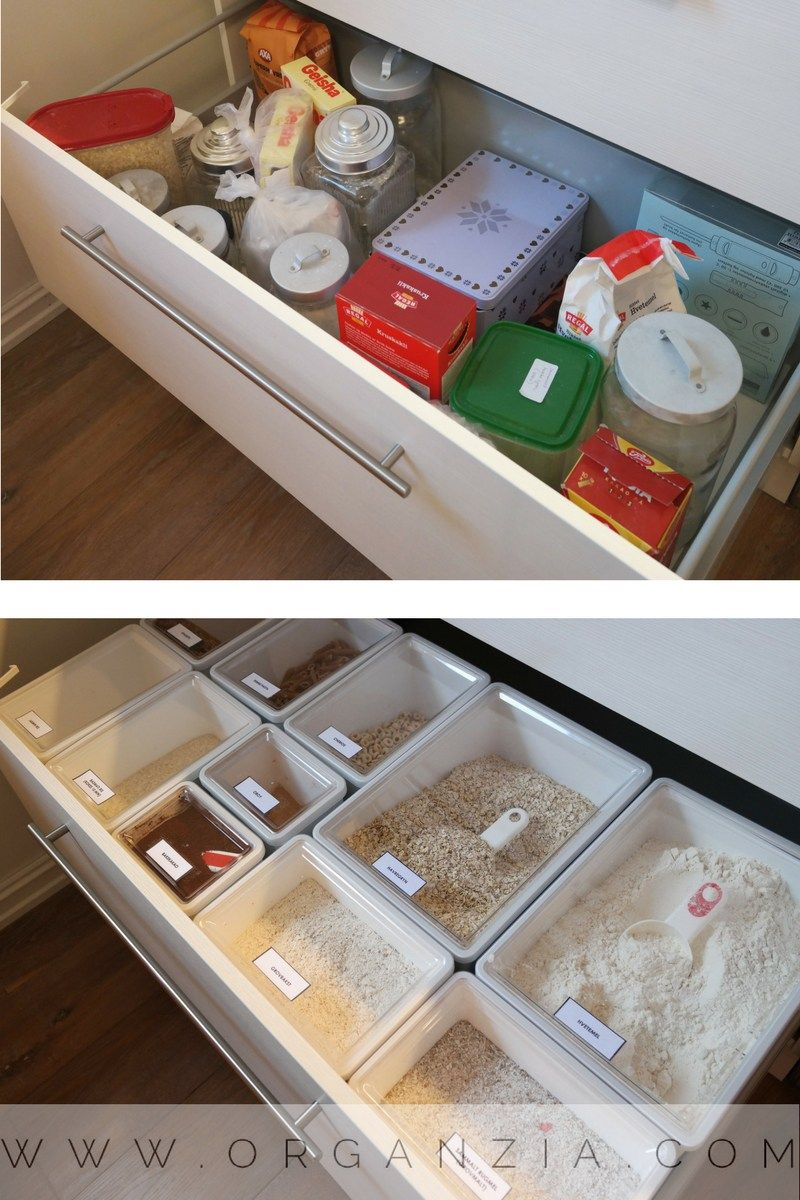 Organized kitchen drawer, with Ikea dry food containers #organized #kitchen #kitchenstorage #organizedrawer #organizedpantry #ikea #pantrystorage #organizingsmallkitchen #kitchenorganization