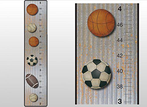 Growth Chart Basketball Baseball Football Soccer Ball Sports Wall ...