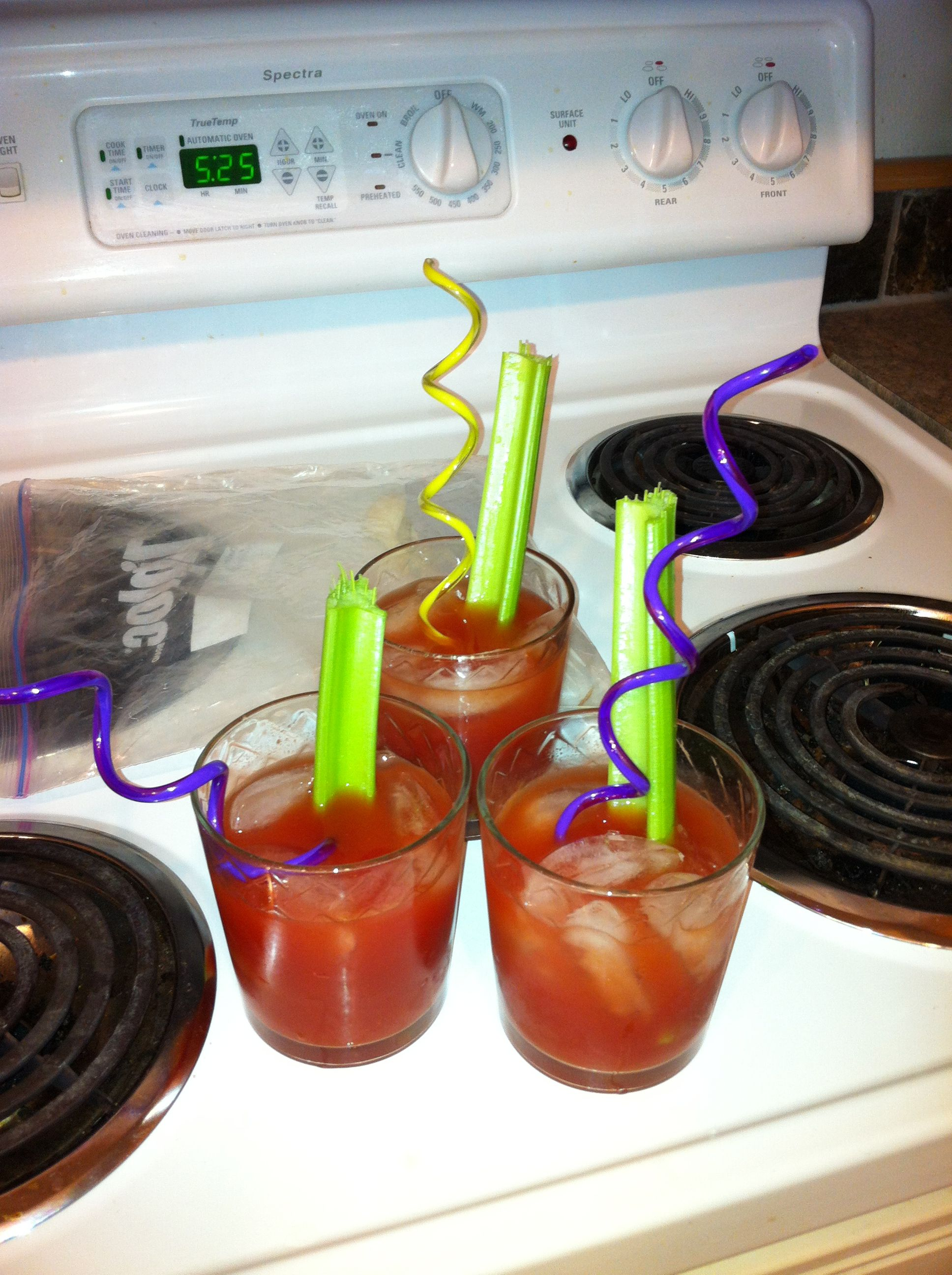 Homemade bloody Mary's! I only do spicy and with a celery stick! I need the celery or else the drink just doesn't work.