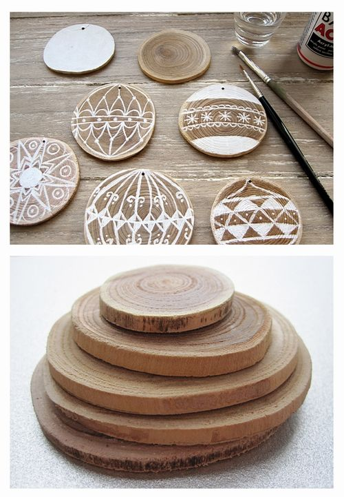 wooden disc ornaments. Love the simplicity.