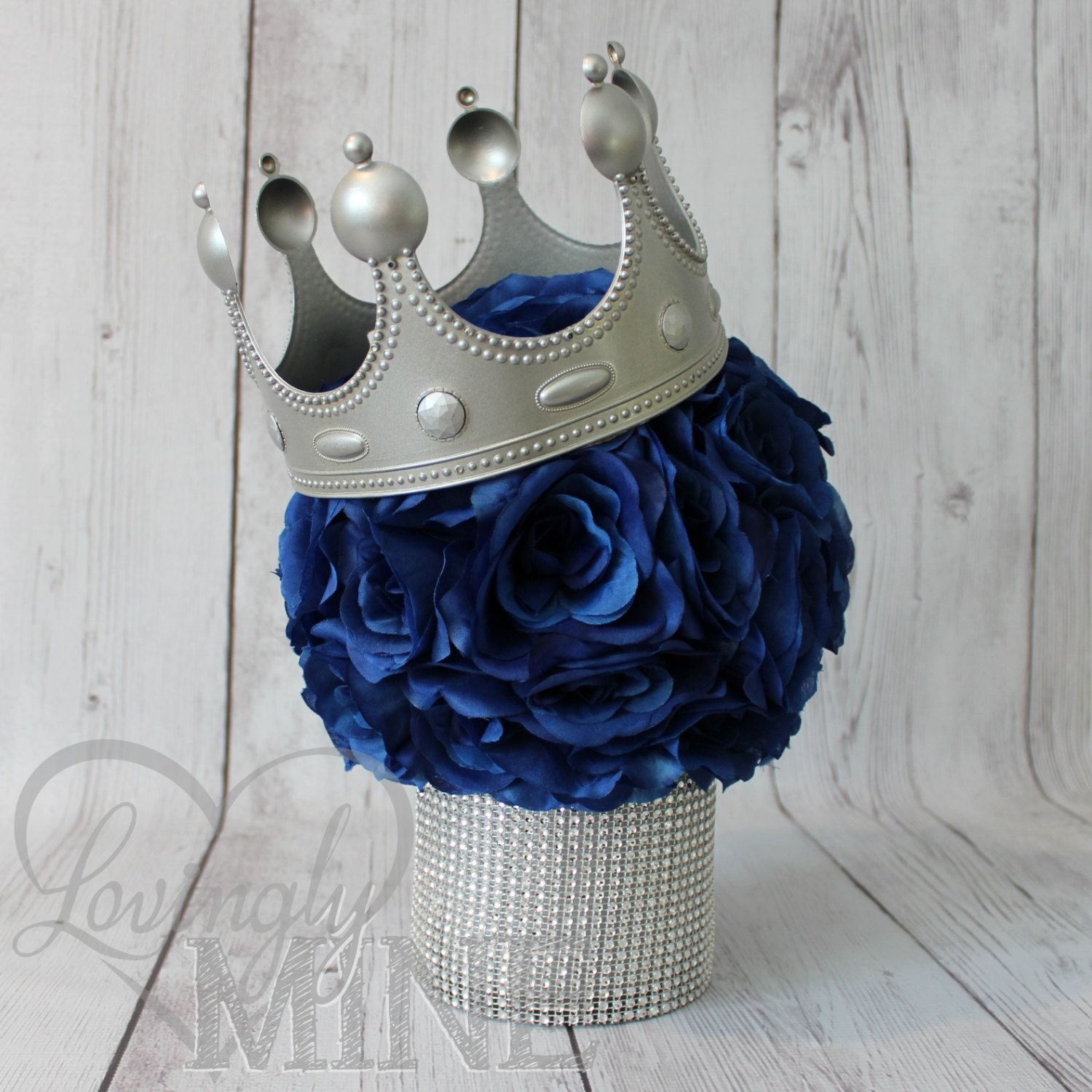 Little prince inspired centerpiece perfect for any event for Blue and silver bathroom accessories