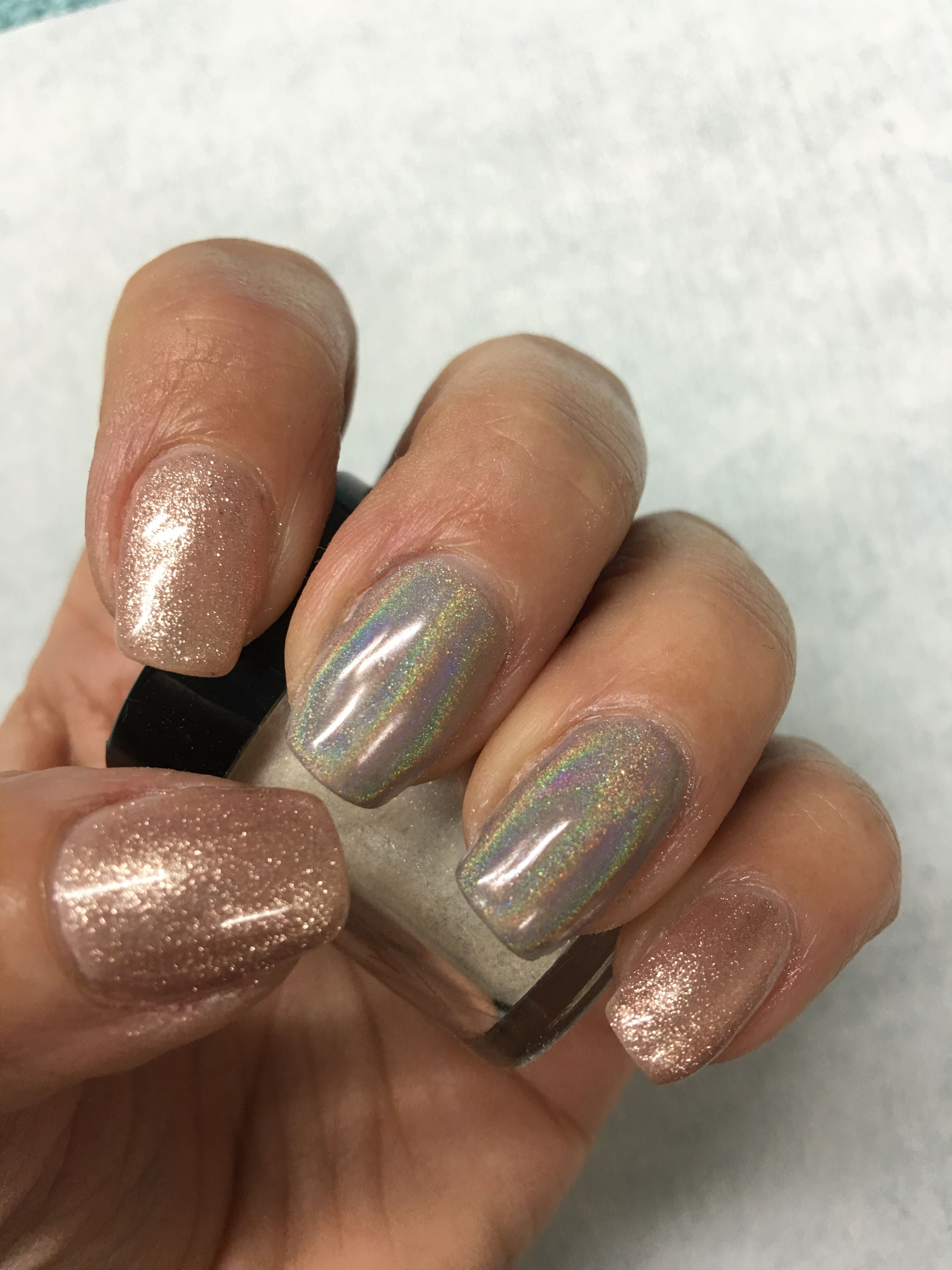 Holo Chrome Unicorn Natural Nude Shimmer Gel Nails Gel Nail