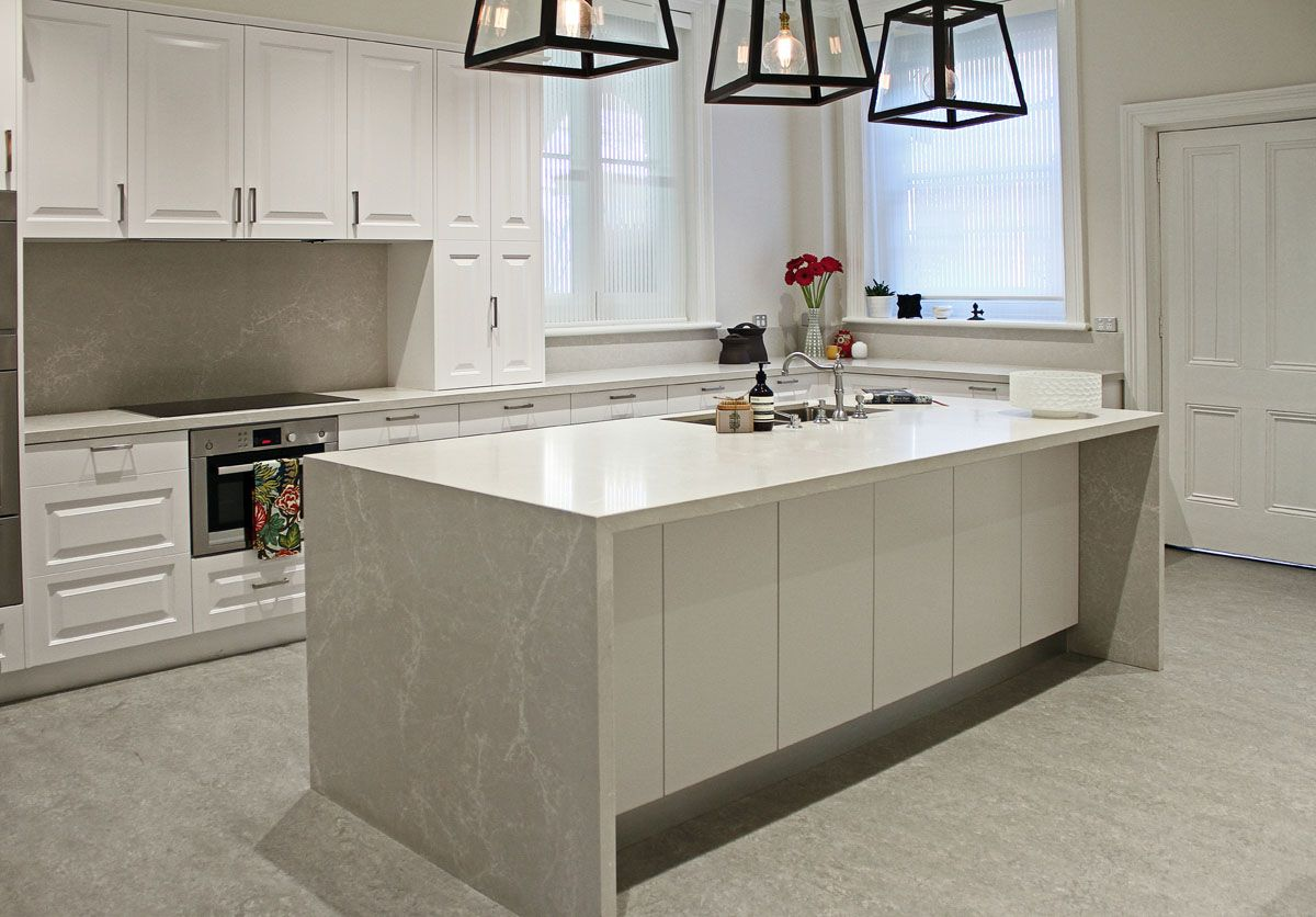 Grey Kitchen Benchtops Kerry Selby Brown Design Featuring Caesarstone Alpine Mist