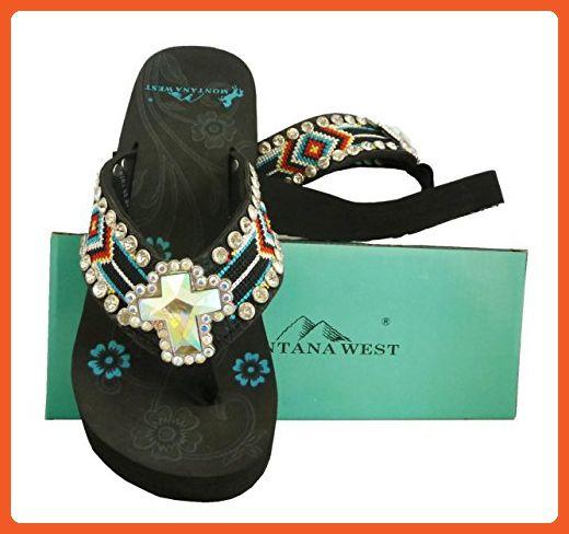 172a6c96a0635f Montana West Women Flip Flops Aztec Diamonds Bars Embroidery Crystal Cross  Concho Black