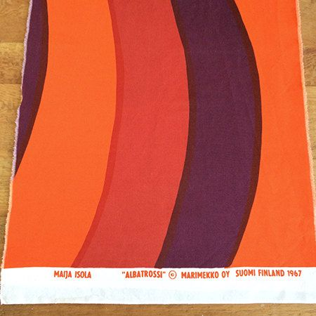"60s Marimekko Fabric -- 1967 Albatrossi Wave Pattern -- Red Orange Yellow & Purple -- 15"" x 1.5 Yards by ImprovGoods on Etsy"