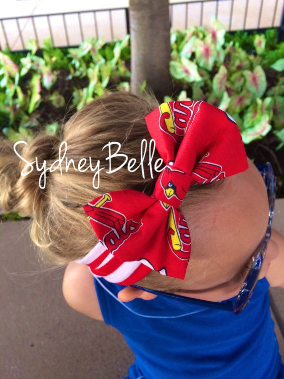 STL Cardinals headband with bow  size 12 by SydneyBelleBoutique