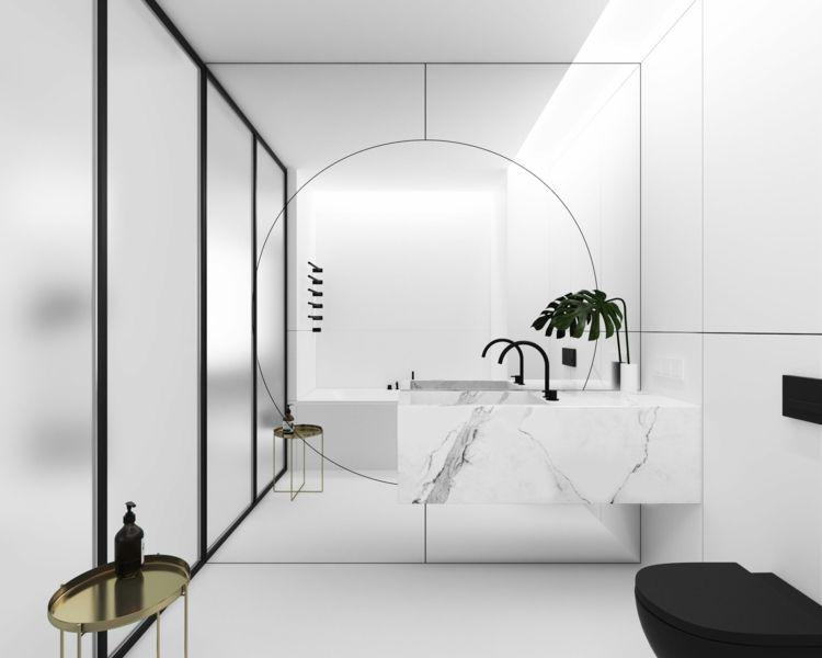 Badezimmer Armaturen Moderne Interieur Schwarz Weiß Marmor #bathroom