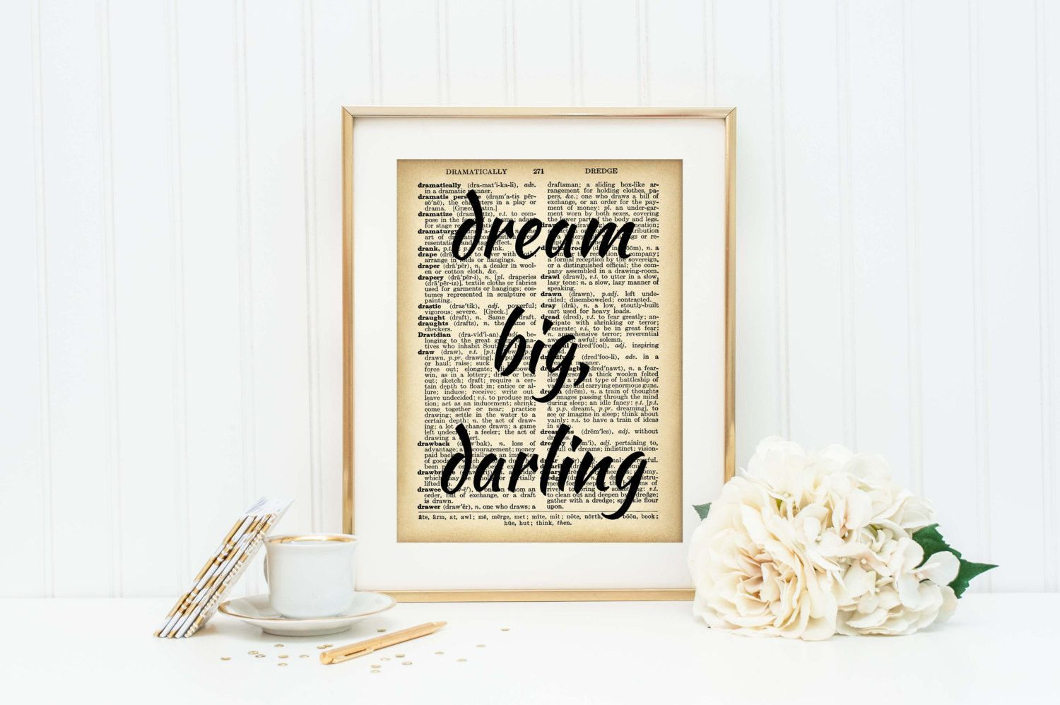 Inspirational art print dictionary page print office decor
