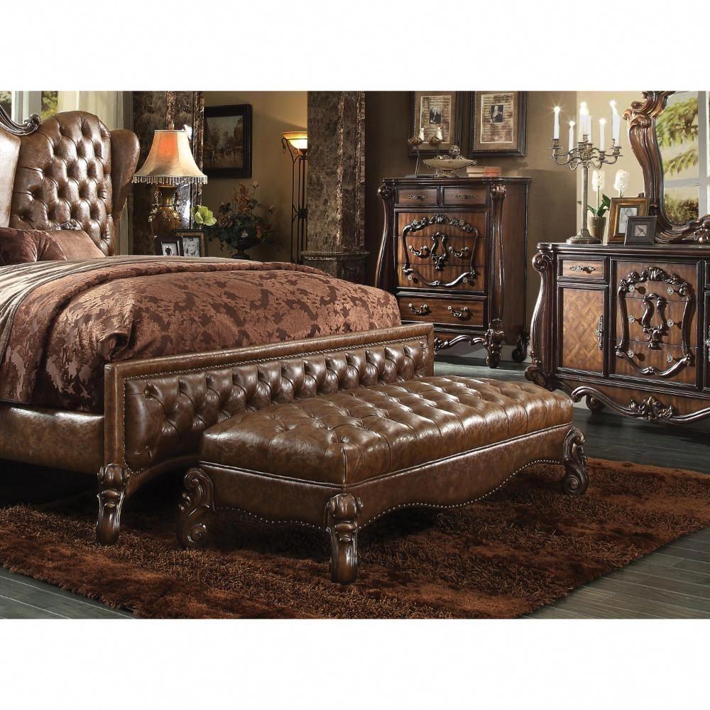 Polyurethane Wood Bench, Antiqued BrownACME Furniture