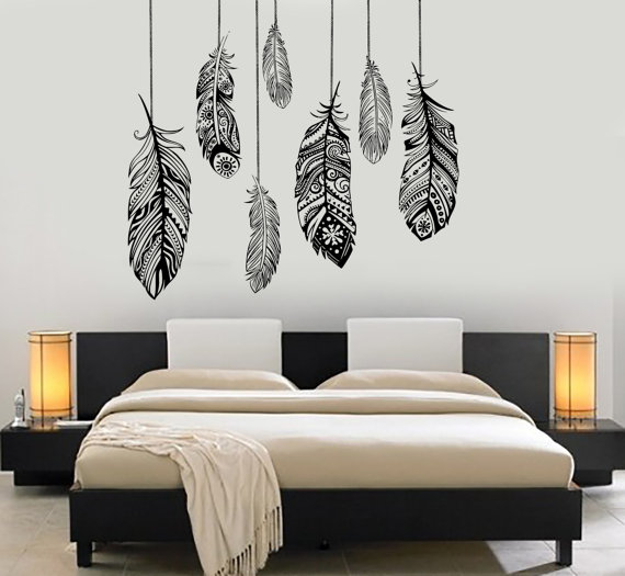 Wall Vinyl Decal Ethnic Love Feather Romantic Decor For Bedroom