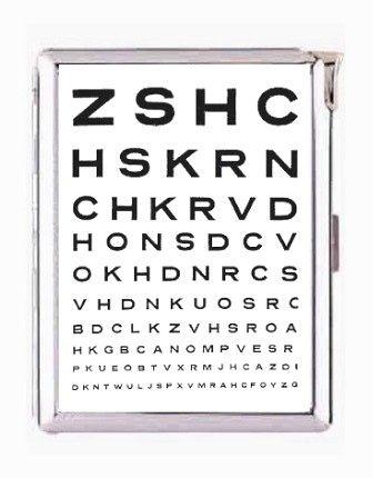Eye Test Chart Double Sided Cigarette Lighter Case Money Clip Wallet