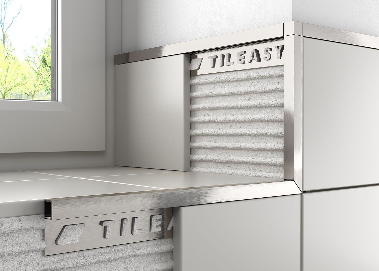 Metal Box Stainless Steel Effect Tile Trim