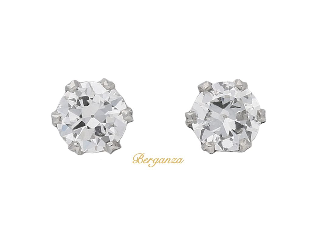 Old Cut Diamond Stud Earrings English Circa