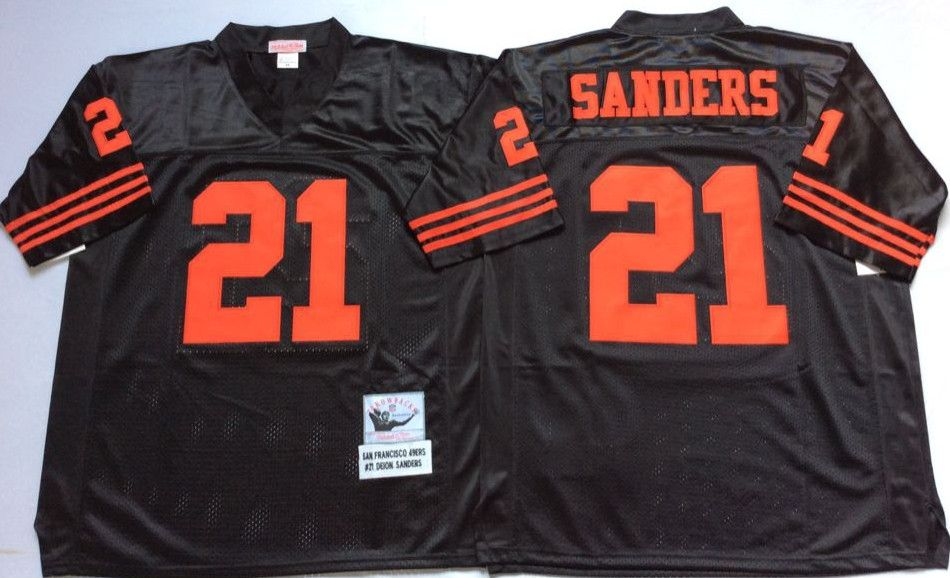 49ers 21 Deion Sanders Black Throwback Jersey  1a0c39c43